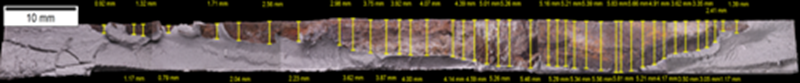Figure 10: Composite image showing crack profile measurements